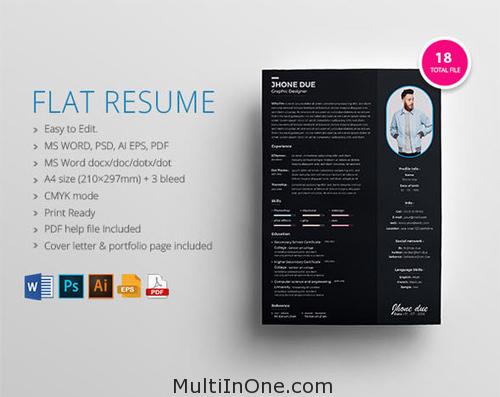 flat resume psd ai eps pdf docx free download